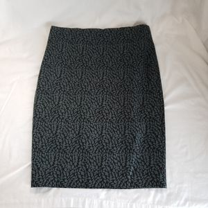 Pencil Skirt Sz 6 Blue Leaves Lined Stretch Cotton